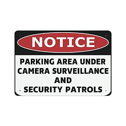 by Unbranded Señal de advertencia para el área de estacionamiento debajo de la cámara, señal de advertencia de patrullas de seguridad y vigilancia, señal de parada, 20 x 30 cm