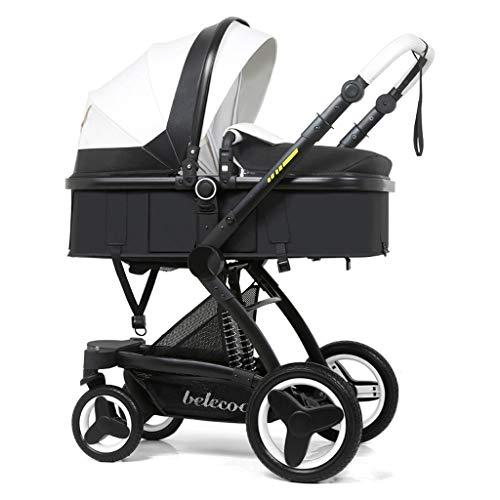 WWWANG - Cochecito de bebé de alta vista, 2 en 1, plegable, multifuncional y seguro de empuje bidireccional, suspensión de goma en cuatro ruedas blanco blanco