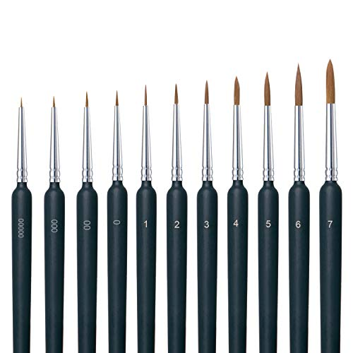 Miniature Paint Brushes, 11 Pcs Detail Paint Brush Set with Ergonomic Handle, Suitable for Acrylic Painting, Oil, Watercolor, Paint by Numbers for Adults