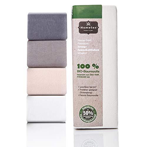 Hometex Premium Textiles Bio Spannbettlaken Spannbetttuch bis 25 cm Steghöhe | Bettlaken aus 100% Bio-Baumwolle 140g/m² - PREMIUMQUALITÄT ÖKO-TEX Standard Green 100 | 180/190-200/200 cm Silber