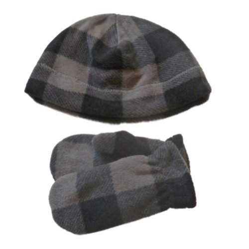 Faded Glory Toddler Boys Gray & Black Plaid Beanie & Mittens Fleece Hat Set