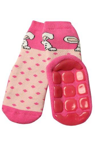 Weri Spezials Weri Spezials Baby Voll-ABS Socke Hase+Punkte Motiv in Rosa Gr.13-14 (0-3 Monate)