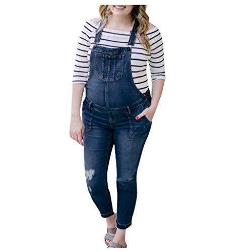 URSING Damen Latzhosen Jeanshosen Denim Overall Jumpsuit Slim Fit Blau Latzhosen Elegant Casual Denim Fraizeithose