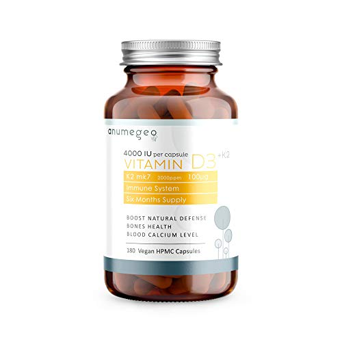 ANUMEGEO Vitamin D3 4000 IU + K2 2000ppm MK7 100µg – Boosts The Immune System & Increase Calcium Absorption - 180 Vegan HPMC Capsules, 6 Month Supply