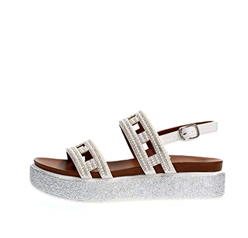 CAF Noir GD936 weiße Sandalen Damen Bänder Riemen Strass Plattform 39