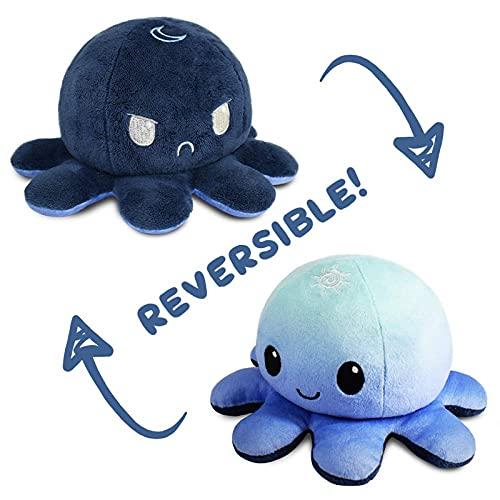 Peluche de Pulpo Reversible Pequeños, Muñecos Lindos de Doble Cara, Juguetes de Pulpo de Felpa para Niños (Azul-Azul Oscuro)