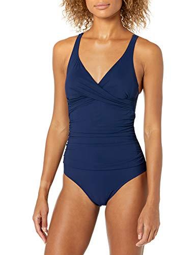 Profile by Gottex Women's Standard Surplice Bust V-Neck One Piece Swimsuit, Tutti Frutti Navy, 10