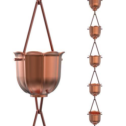 Regenketten Direct Flöten Regenkette, 8,5 Fuß Länge, 100% Kupfer, funktioneller und dekorativer Ersatz für Dachrinne Fallrohre