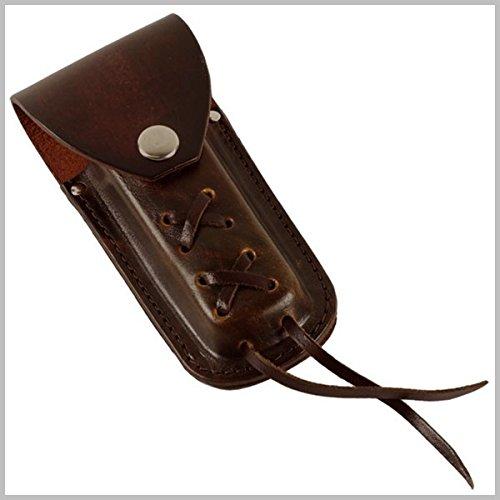 Etui Cuir Marron Couteau de Poche Biker Brown Leather (Marron à Lacets)