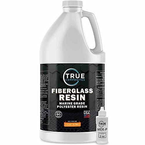 True Composites Fiberglass Resin Polyester Resin Marine Grade Resin 1 Gallon with MEKP Hardener Polymer Resin Fiberglass Repair Kit Laminating Resin
