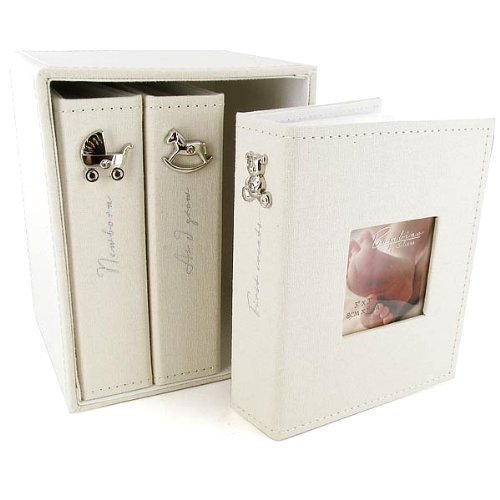 Bambino Baby Christening Gifts Linen Fabric Set Of 3 Photo Albums