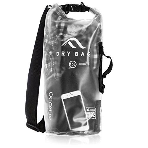 Acrodo Dry Bag Transparent & Waterproof - Black 10 Liter Floating Sack for Beach, Kayaking,...