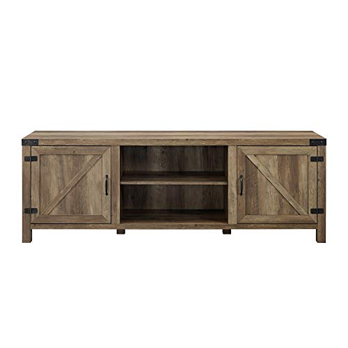 Walker Edison Georgetown Modern Farmhouse Double Barn Door TV Stand for TVs up to 80 Inches, 70 Inch, Reclaimed Barnwood