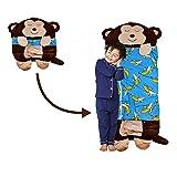Saco de dormir 2 en 1 de Affe, plegable, con almohada, para niños, material suave y lavable a máquina, para niños y niñas, tamaño grande, 150 x 60 cm, color marrón