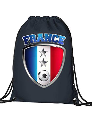 Golebros Frankreich France Fan Artikel 6103 Fuss Ball Turn Sport Beutel Unisex EM 2020 WM 2022 Trikot Look Flagge Fahne Team Kinder Kids Junge Mädchen Navy