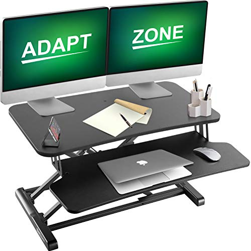 ADAPTZONE Standing Desk Converter, 32 Inch Height Adjustable Stand Up Desk Riser, Sit Stand Desk Converter, Tabletop Stand Up Desk Workstation, Comes with Standalone Phone Stand Fits Dual Monitor