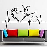 wZUN Calcomanía de Vinilo Pulso corazón Salud Estilo de Vida Saludable Pareja Dormitorio Sala de Estar decoración del hogar 85X46 cm