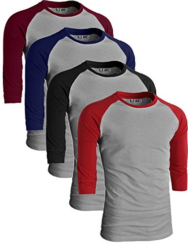 OLLIE ARNES Men's Basic Crewneck 3/4 Sleeve Cotton T-Shirt Raglan Baseball Top LTGBUR_LTGBK_LTGRRED_LTGNV L