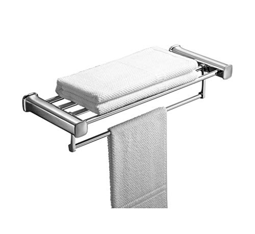 WHZG toalleros Plata Toallero De Acero Inoxidable De Baño Estante De Toalla Montado En La Pared De La Cocina Bastidores Rack De Almacenamiento De Accesorios De Baño 60cm toallero