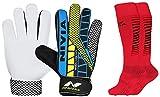 Nivia Carbonite Web 896 Latex Goalkeeper Gloves (Multicolour) & Nivia Encounter Soccer Socks