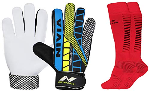 Nivia Carbonite Web 896 Latex Goalkeeper Gloves (Multicolour) & Nivia Encounter Soccer...