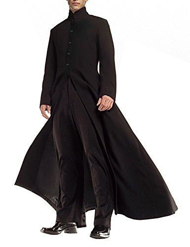Spazeup Matrix Coat Trenchjacke, Leder, Schwarz - Schwarz - XXX-Large