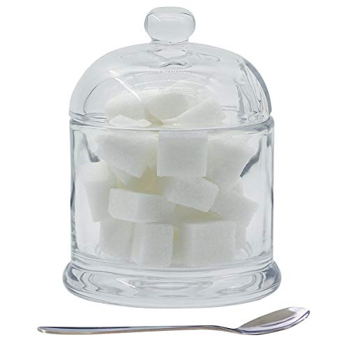 Glass Sugar Bowl, Kitchenexus Clear Sugar Bowl with Lid and Spoon 9.4oz/280ml Seasoning Dispenser Container Sugar Box with Cover Suit for Coffee Bar, Restaurant, Kitchen and Home breakfast