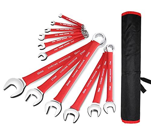 BOLTHO 12 chiavi combinate metriche e standard, 6 – 32 mm, set di chiavi con estremità aperta e terminale, acciaio al cromo vanadio con rullo per utensili
