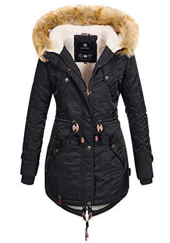 Navahoo warme Damen Winter Jacke Teddyfell Winterjacke Parka Mantel B399 [B399-Schwarz-Gr.XS]