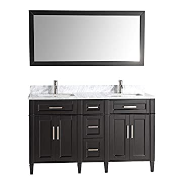Vanity Art 60 Inches Double Sink Bathroom Vanity Set Carrara Marble Stone Top Dove-Tailed Drawers Soft Closing Doors Under-Mount Rectangle Sink Cabinet with Free Mirror VA2060-DE