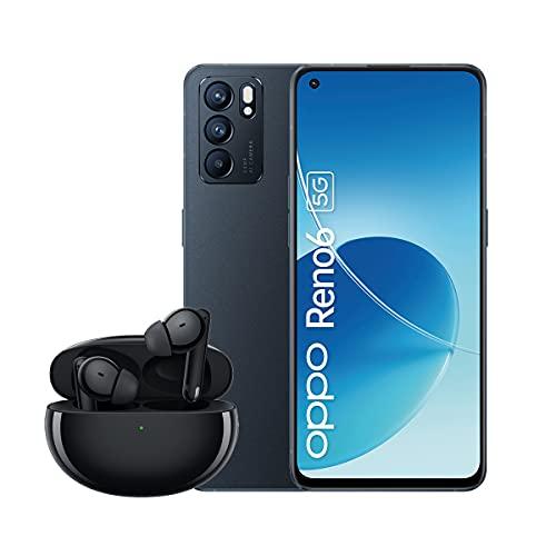 OPPO Reno6 5G Smartphone inkl. OPPO Enco Free2 Headset, 64 MP Triple-Kamera, 6,43 Zoll AMOLED Bildschirm, 4.300 mAh Akku, 65W SuperVOOC 2.0 Schnellladen, 128 GB Speicher, 8 GB RAM, Stellar Black