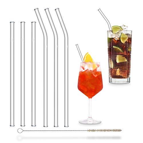 Halm Glas Strohhalme Wiederverwendbar Trinkhalm - 6 Stück, 2 Größen - Glastrinkhalme + plastikfreie Reinigungsbürste - Spülmaschinenfest - Nachhaltig Glastrinkhalme Glasstrohalme - Cocktail Smoothie