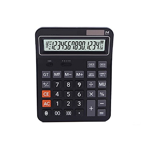 Professional Standard Large Desktop Calculator,Office/Business/Electronic calculators with 14-Digit Large Display, Solar and AAA Battery Dual Power Elegant Black