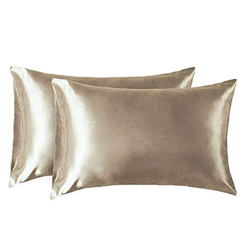 Bedsure Satin Kissenbezug Gold 40x80 Doppelpack, seidig Kopfkissenbezug 40 x 80 cm Haar- und Hautpflege, Kissenbezüge Kissenhülle in 2er Set, Silky Pillow case for Hair