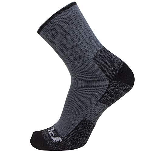 Pure Athlete Calcetines de senderismo para niños, cómodos, absorben la humedad, para exteriores, para niños y niñas, XS/S, 1 par – gris/negro.