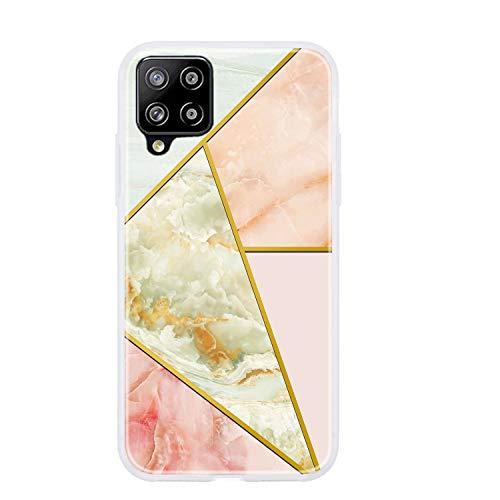 Everainy Funda Compatible para Samsung Galaxy A12 Silicona Bumper Ultrafina Mármol Dibujos Motivo Tapa Goma Case Antigolpes Resistente Protección Cover (Naranja)