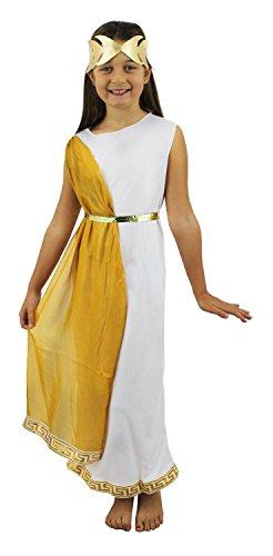 Tunique Romaine Blanche pour Enfant ILOVEFANCYDRESS avec Son écharpe Or et sa Couronne dorée. (12-14 Ans )