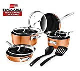GOTHAM STEEL 2874 Cookware Set, 10 Piece, Brown