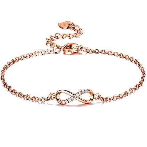 F.ZENI Armbänder Damen 925 Sterling Silber Funkeln Kubisches Zirkonia Kuss Armband Akzent...