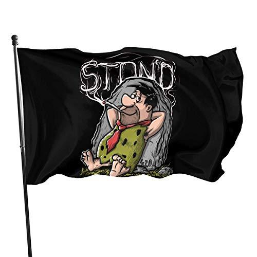 Feng Mei Yan Jiu Fred Flintstone Stoned Flag - 3x5 Fly Breeze Voeten Duurzame 100% Polyester Vlaggen (3'X5' Ft Voet)