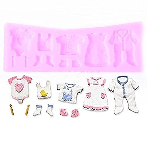 MoGist Moldes de silicona 3D para ropa de bebé, para tartas, moldes de chocolate, moldes para hornear