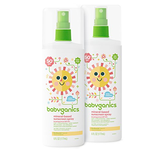 Babyganics Baby Sunscreen Spray, SPF 50, 6oz Spray Bottle (Pack of 2)