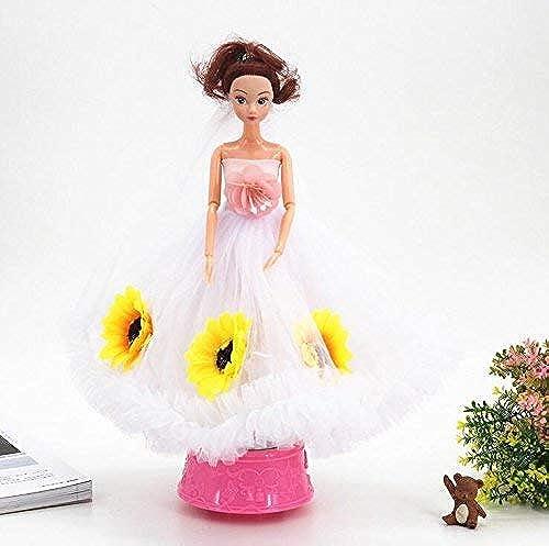 Xinsushp Home mädchen Spielzeug Hochzeit Kleid Puppe Braut Rotierende Spieluhr für Hochzeitsdekoration Interessantes Spielzeug