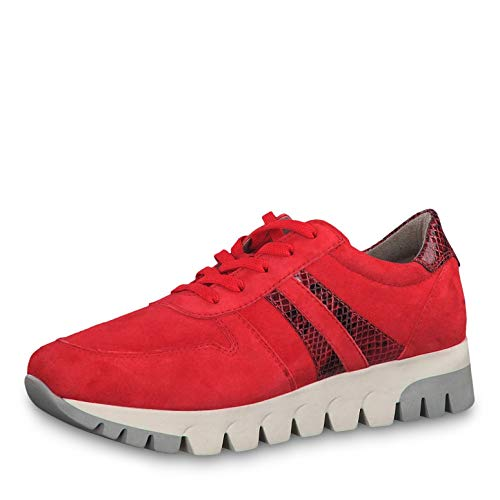 Tamaris Damen Schnürhalbschuhe 23741-23, Frauen sportlicher Schnürer, Sneaker schnürer sportlich modisch freizeitschuh,Scarlet/Snake,38 EU / 5 UK