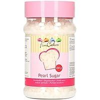 FunCakes Azúcar Perlada Extra Grande Blanca Crujiente para Hornear Gofres, Rollos, Roscón o como Decoración de Dulces, 200g, G42390