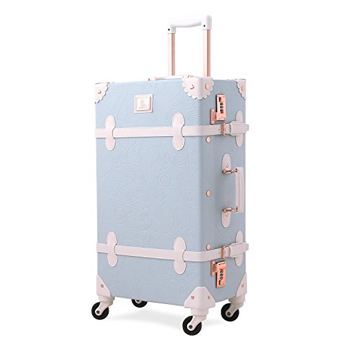 Uniwalker キャリーケース ライトブルー トランクケース 可愛い レトロ トランク 四輪 超軽量 復古主義 キャリーバッグ かわいい s型 スーツケース 機内持込 suitcase (S (機内持込)型, ライトブルー)