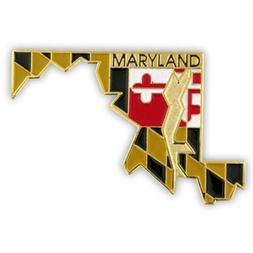 PinMart State Shape of Maryland and Maryland Flag Lapel Pin
