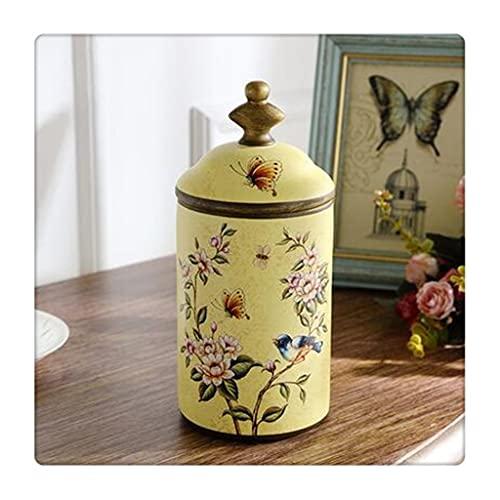 SKREOJF Tanque de Almacenamiento cerámico Americano Pastoral Bird Impresión Utensilio Multifunción Cocina Té Café Azúcar Tanque de Ahorro (Color : Style B)