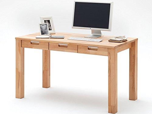 möbelando Schreibtisch Arbeitstisch Massivholz Bürotisch Massivholztisch Kernbuche Cento