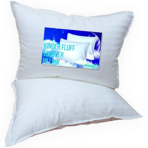 kinder Fluff Toddler Pillow (2 Pcs) -The only Pillow with 300T Cotton and Down Alternative Fill- Hypoallergenic & Machine Washable. Ideal Baby Pillow for Toddler Bed or Travel Pillow